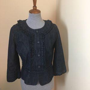 LOFT (Ann Taylor) Denim Jacket with Ruffles Sz 10P